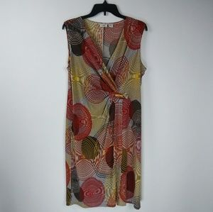 Large Sleeveless Round Illusion Print Dress